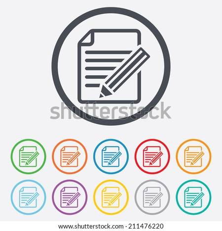 Edit document sign icon. Edit content button. Round circle buttons with frame. Vector - stock vector