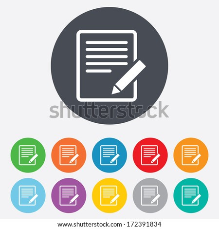 Edit document sign icon. Edit content button. Round colourful 11 buttons. Vector - stock vector
