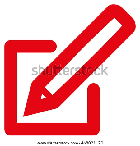 Edit Document vector icon. Style is stroke flat icon symbol, red color, white background.