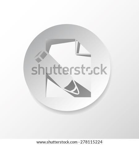 Edit file, web icon, in gray circle, vector design, - stock vector