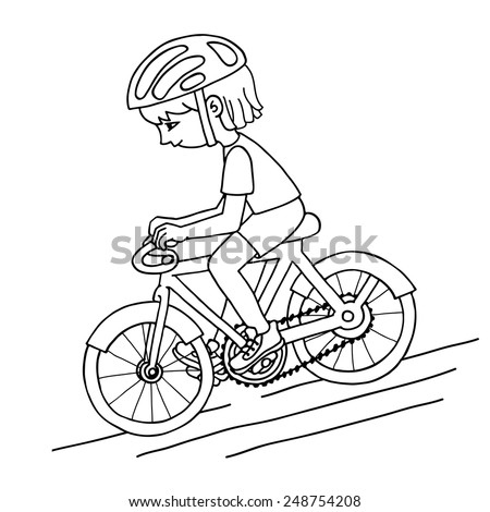 Edit girl on a bicycle contour vector drawing. Healthy lifestyle background. - stock vector