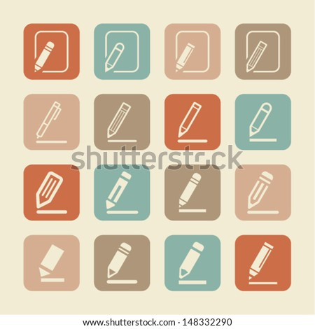 Edit icons for website - stock vector