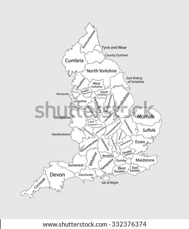 Editable blank vector map of England. Vector map of England isolated on background. High detailed. Autonomous communities of England. Administrative divisions of England, separated provinces. - stock vector