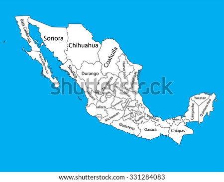Editable Blank Vector Map Mexico Vector Stock Vector (Royalty Free ...