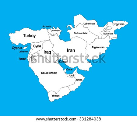 Editable blank vector map of  Middle East, isolated on background, high detailed.  outline map, silhouette illustration. Middle east countries collection illustration. Asia icon of middle east states. - stock vector