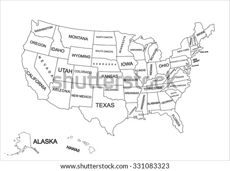 Editable Blank Vector Map United States Stock Vector - Editable us map with states