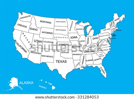 Editable Blank Vector Map United States Stock Vector 331284053