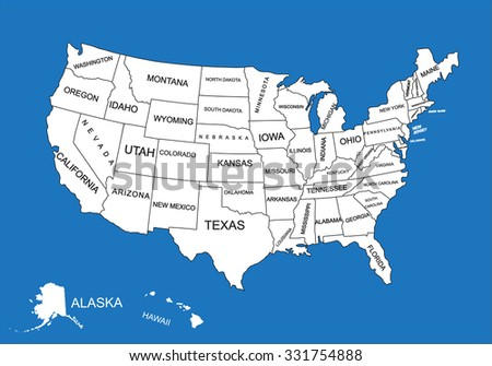 Editable blank vector map of  United States. Vector map of United states of America isolated on background. High detailed usa map.Administrative divisions of United States, separated countries.. - stock vector