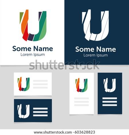 Editable business card template u letter stock vector 603628823 editable business card template with u letter logoctor illustrationeps10 flashek Gallery