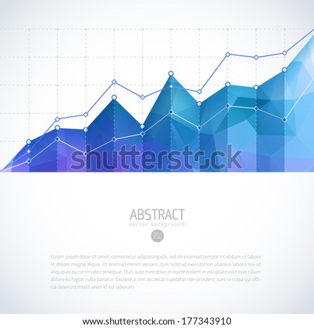Editable business diagram graph chart with colorful bright triangle pattern - stock vector