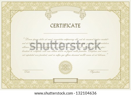editable certificate template with ornamental border in modern style