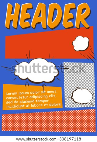 Editable Comics Page or Flayer Template With Comics Elements - stock vector
