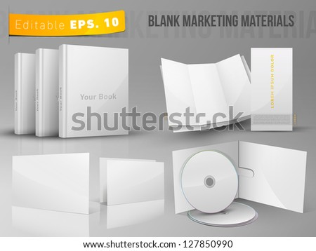 Editable EPS 10 vector Blank office marketing materials - stock vector