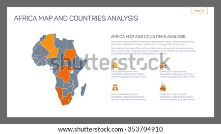 Editable infographic template of Africa map and countries analysis with and sample text