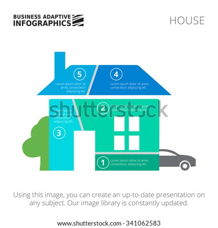 stock vector editable infographic template of house diagram divided into five segments with car and tree 341062583 stock images, royalty free images & vectors shutterstock house diagram at cos-gaming.co
