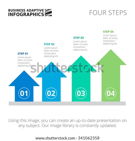 Editable infographic template of process arrow chart with four steps, blue and green version - stock vector