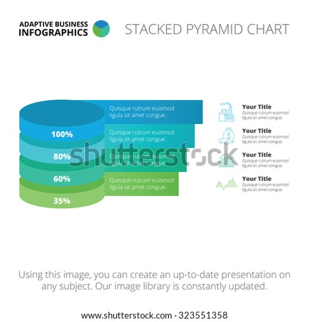 Editable infographic template of stacked pyramid chart, blue and green version - stock vector