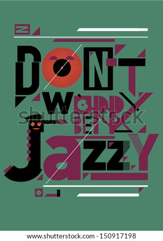 editable jazz poster artwork on vintage colors - stock vector