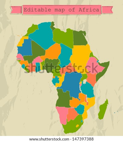 Editable map of Africa with all countries. Vector illustration EPS8 - stock vector
