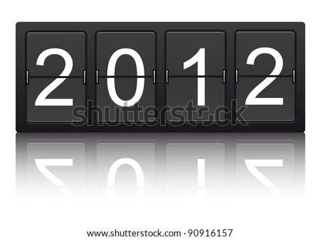 editable 2012 new year on mechanical scoreboard - stock vector