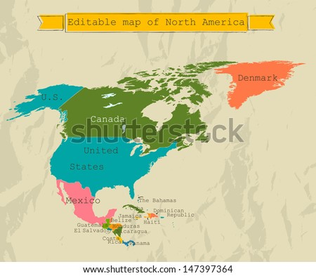 Editable North America  map with all countries. Vector illustration EPS8