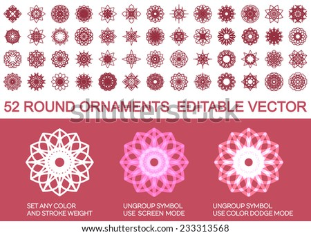 Editable round east ornament set. Vector symbols - stock vector