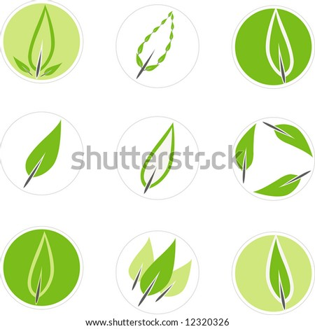 Editable set of vector 9 green leaf graphics suitable for use in a logo. - stock vector