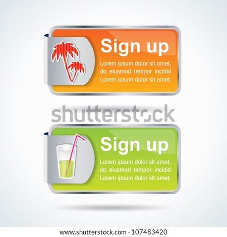 Editable sign up buttons with summer icons and colors - stock vector