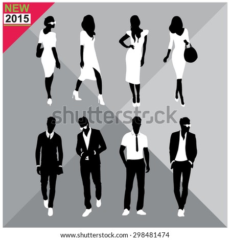 Editable silhouettes set of men and women - stock vector