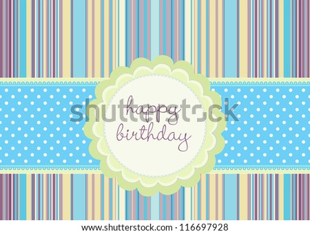 Editable template for a birthday card with flower shaped ribbon on retro stripe pattern