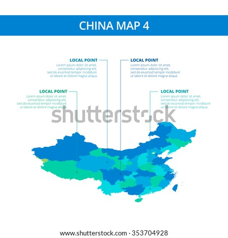 Editable template of detailed map of China with information marks, blue and green version, isolated on white  - stock vector