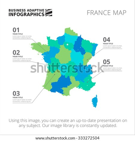 Editable Template Of Detailed Map Of France Isolated On White