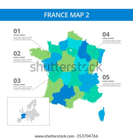 editable template of detailed map of france with information marks and country silhouette on world map