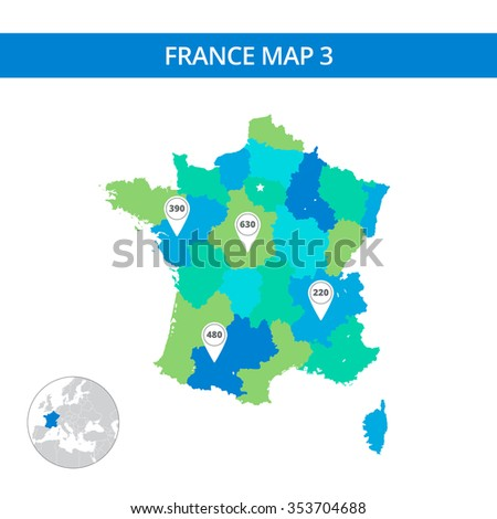 Editable template of detailed map of France with map pointers and country silhouette on world map, isolated on white