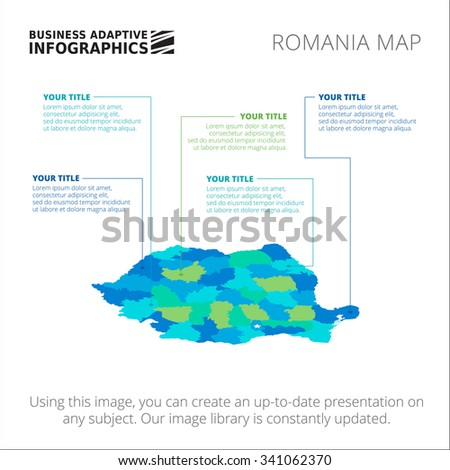 Editable template of detailed map of Romania, isolated on white - stock vector