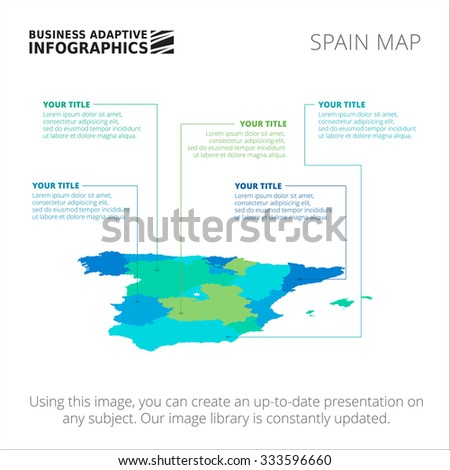 Editable template of detailed map of Spain, isolated on white - stock vector