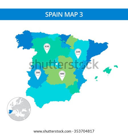 Editable template of detailed map of Spain with map pointers and country silhouette on world map, isolated on white