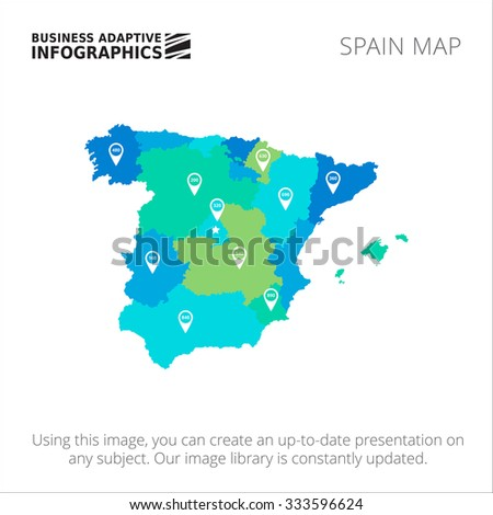 Editable template of detailed map of Spain with map pointers, isolated on white - stock vector