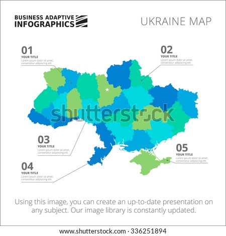 Editable template of detailed map of Ukraine, isolated on white - stock vector
