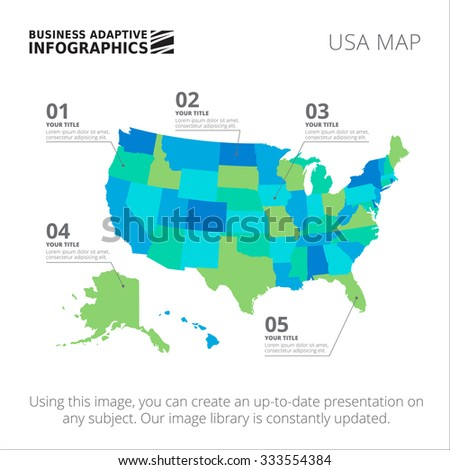 Editable template of detailed map of USA, isolated on white - stock vector
