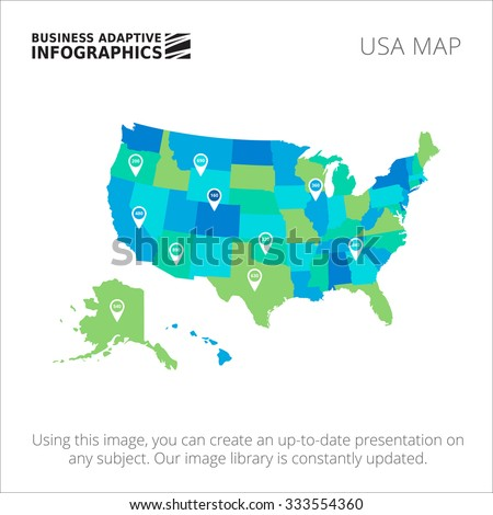 Editable template of detailed map of USA with map pointers, isolated on white - stock vector