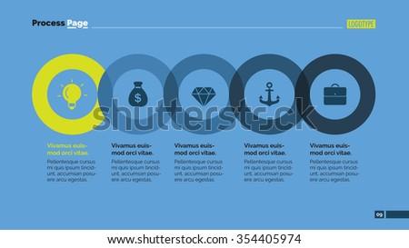 Editable template of presentation slide representing process chart - stock vector