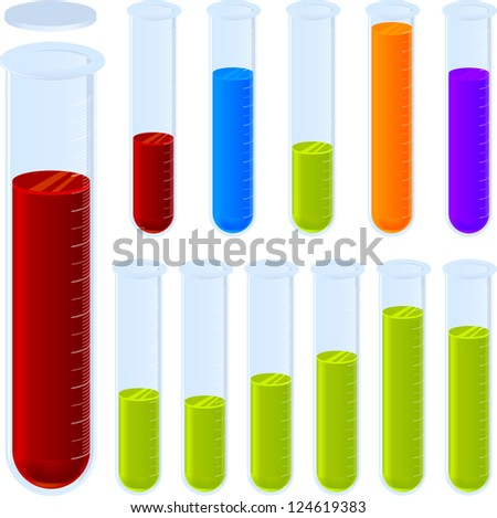 Editable test tubes. Layered for easy chart changes