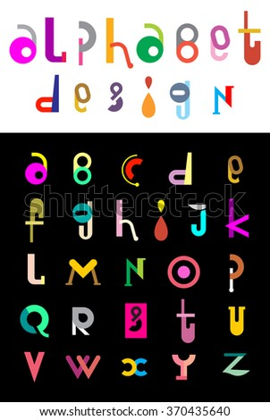 Editable vector alphabet. Colorful letters on a white background with text Alphabet Design. - stock vector