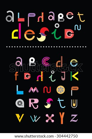 "Editable vector alphabet. Colorful letters on black background with text ""Alphabet Design"". - stock vector"