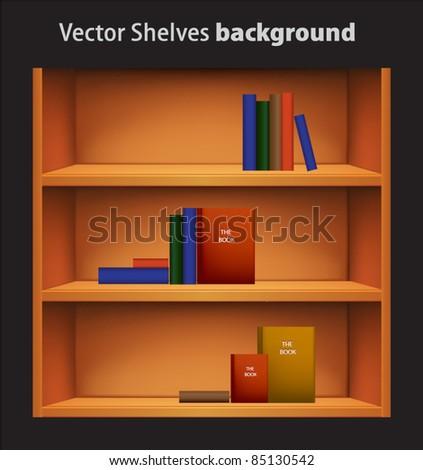 Editable vector bookshelf with colorful books - stock vector