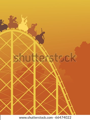 Editable vector colorful silhouette of a steep rollercoaster ride - stock vector