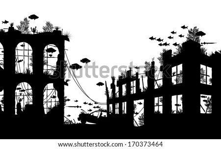 Editable vector foreground silhouette of fish and coral around underwater city ruins - stock vector
