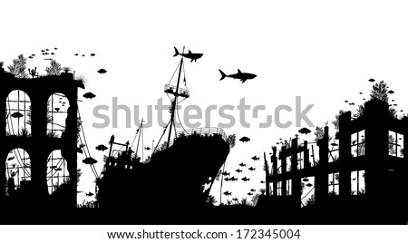 Editable vector foreground silhouette of marine life around a shipwreck and underwater city ruins - stock vector