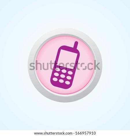 Editable Vector Icon of Mobile phone on button. - stock vector